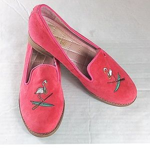 Sperry Pink Suede Embroidered Flamingo Size 6